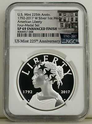 American Liberty 225Th Anniversary Silver Medal...1792-2017 W Ngc Sp 69 Ef