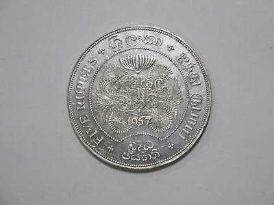 Ceylon 1957 5 Rupees Crown Size Silver Toned Old World Coin Collection Lot #b