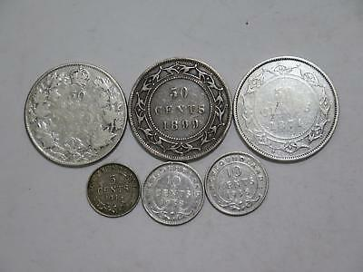 1916 Canada 1899 1874 Newfoundland 50 10 5 Cents Mixed World Coin Collection Lot