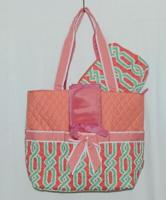 NGIL GUA2121 Quilted Pink Striped Vine Print Coral Green Diaper Bag