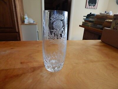 Vintage Made In Edinburgh Scotland Etched Crystal Vase 999