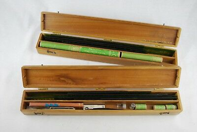 1926 WRICO Lettering Pens and Wood-Regan Instrument Co. Stencils + Wood Boxes