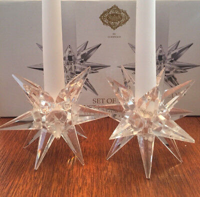 SHANNON CRYSTAL by GODINGER - set of two star starburst candle stick holders MCM