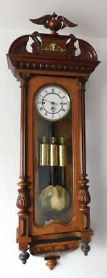 triple weight walnut  cased vienna wall clock