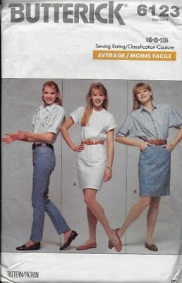 Butterick Sewing Pattern 6123 Misses' JEANS & SKIRT sz 6, 8, 10