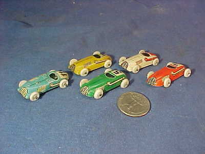 5-1940s CRACKER JACK Tin Toy RACE CAR Premiums Made in US ZONE Germany