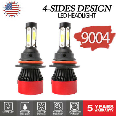 9004 HB1 4-Sides 72W 16000LM LED Light Headlights Kit Hi Low Beam Bulbs 6500K 2x