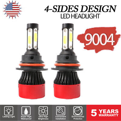 9004 HB1 4-Sides 72W 16000LM LED Light Headlights Kit Hi Low Beam Bulbs 6000K 2x