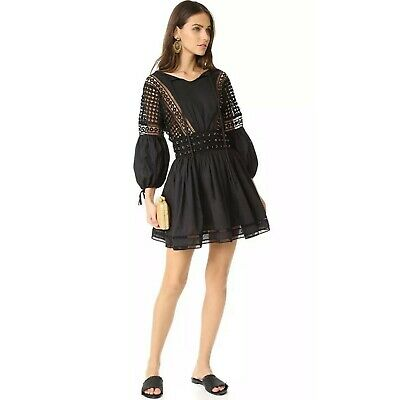 ENDLESS ROSE Flared Dress With Trim Detail, Black, Size S M NEW $146