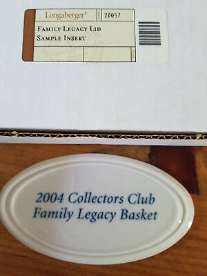 2004 Longaberger Collectors Club Family Legacy Basket Ceramic Lid Insert ~ RARE