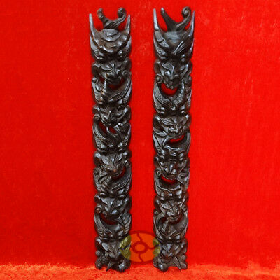 "tall 26"" PAIR of Nuo Couplet Chinese Wood Hand Carved Painted NUO MASK Walldecor"
