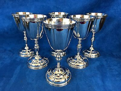 Antique Solid Sterling Silver Sanborns Mexico Six Grand Goblets