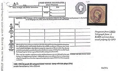 S57 GB 1893 Fragment Telegraph Form Rare Survivor from Usual Pulping GPO PTS