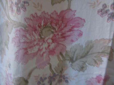 A Glorious Pair Of Vintage French Fine Cotton Unlined Peony Chintz Curtains