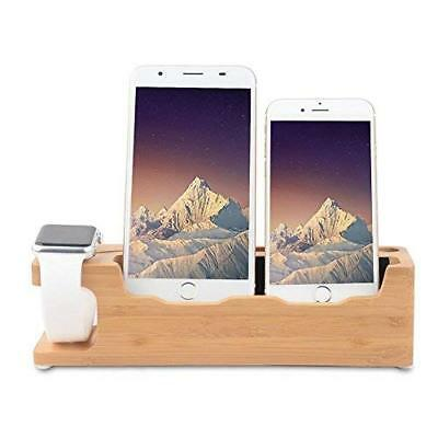 Apple Watch Stand Bamboo 3 in 1 Desktop Cell Phone Stand For all iPhone iWatch