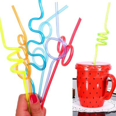 Novelty CURLY COLOURFUL STRAWS Assorted Shapes Kids/Children Fun Party Drinking