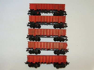 Frateschi Open wagons x 5.   HO scale. Good cond. Weathered. No box. 2 rail DC
