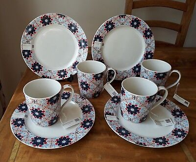 Denby Monsoon Bettie Mugs x 4 & Plates x 4 *New with Tags* 8 Pieces