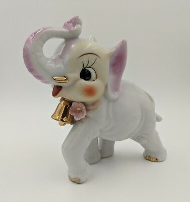 Vintage Arnart or Napco Japan White Anthropomorphic Elephant with Gold Bell