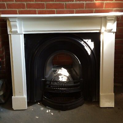 Victorian cast iron fireplace, white wooden surround, very good condition