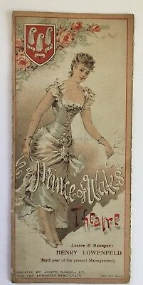 Prince Of Wales Theatre Programme 1897 - Gatefold Victorian Adverts