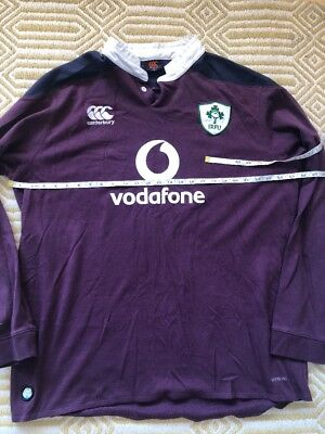Vintage Ireland Rugby Union Long Sleeve Away Jersey Shirt 3XL Mens Canterbury