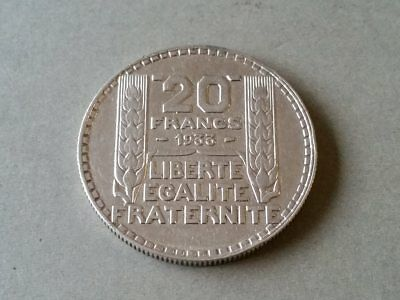 France 1933 20 Francs Silver Coin Republique Francaise P.turin