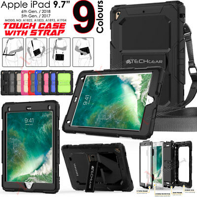 "New Apple iPad 9.7"" 2018 / 6th Gen Tough Rugged Armour SHOULDER STRAP Case Cover"