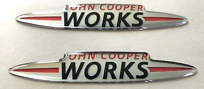 2x JOHN COOPER WORKS Logo 3D Domed Stickers. Size 90x15mm.