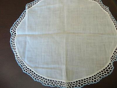 Two Vintage Table Toppers Doilies Crochet Trim