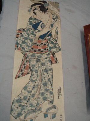 Original 19th Century Keisei Eisen Japanese Woodblock Print Young Woman