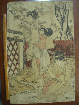 Original 19th Century Kitagawa Utamaro Japanese Woodblock Print Courtesan Pick