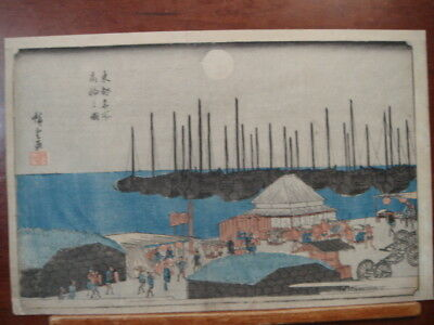 Original 19th Century Ando Hiroshige Japanese Woodblock Print View Takanawa