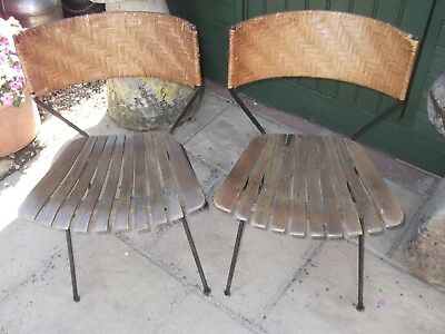 vintage pair of 1950s chairs metal legs ,,industrial?