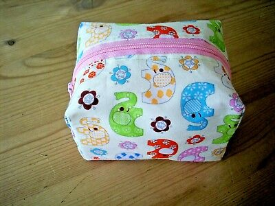 Dummy Soother Pacifier Case Holder Handmade Little Elephant Waterproof Lining