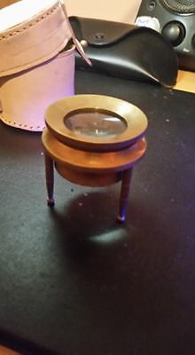 Vintage Brass Chart Map Glass Magnifying Desk Lens Magnifier with Leather Case