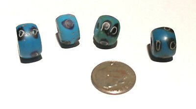 Four Antique Venetian Turquoise Fancy African Glass Trade Beads