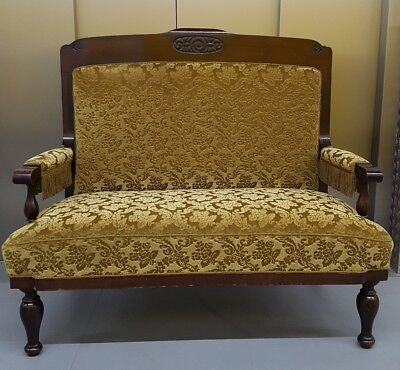ANTIQUE OAK Beautiful upholstered high-backed hall seat/sofa.