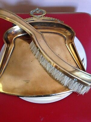 Antique c1890 Art Nouveau Brass Dust Pan & Brush
