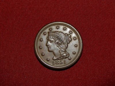 1851 1C BN Braided Hair Cent-Very Nice and Clear Details!