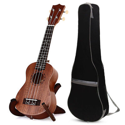 "21"" Wood Soprano Ukulele Guitar Sapele 12 Frets Hawaiian Instrument w/Carry Bag"