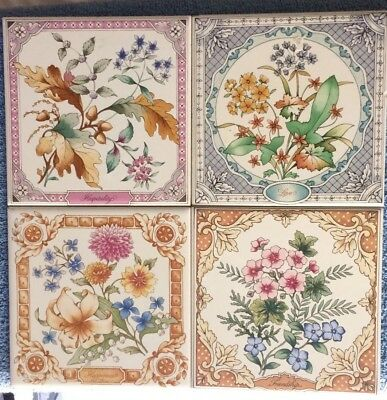 Vintage 4 Avon Tile Trivets Hospitality Friendship Happiness Love Floral 1983
