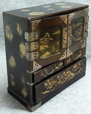 Japanese Oriental Red & Black Lacquer Tansu Chest Draws Cabinet Jewellry Box