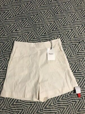 945d630fd7313 NWT $190 THEORY Tarrytown Stretch Linen High Waisted Shorts Size 2 Shell  White