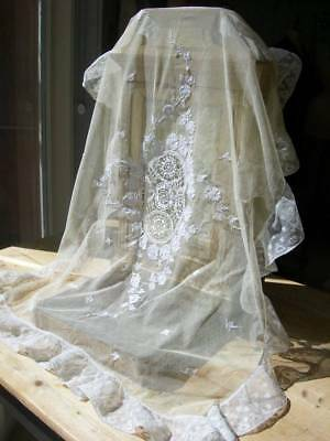 Antique French hand embroidered tulle & lace baby cot cover or pillow sham