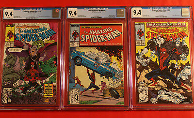 3 Amazing Spider-Man Lot #'s 306, 319, 322 Cgc 9.4 Nm W Pgs Mcfarlane Marvel