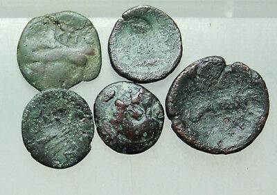 Lot of 5x Greek Bronze Coins with countermark  D = 16-20mm  , 19