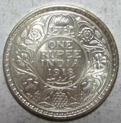 India, Rupee, 1918(c), Uncirculated, .3438 Ounce Silver, #3