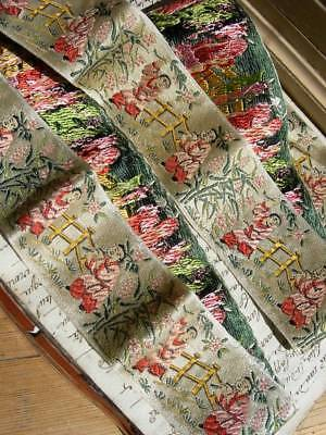 Lovely length antique French woven silk ribbon with Chinese motifs