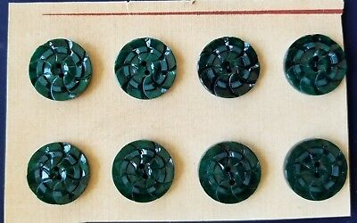 "Vintage Buttons - 8 Dark Green Casein 2-hole Carved 5/8"" Pin Wheel Buttons"